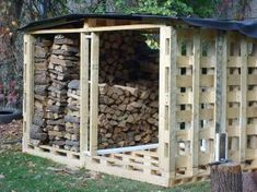 my hunnys gonna love this idea..Pallett shed for wood supply