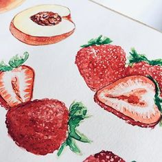 🍓 Food illustration in progress. You can get a copy and see m. Food Illustrations, Illustration Art, Food Painting, Food Drawing, Food Art, Love Food, Vegetarian Recipes, Berries, Personal Portfolio