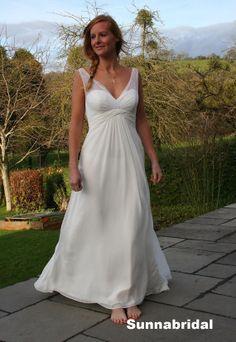 Ivory v neck low back empire waist long plu size chiffon lace outdoor wedding dress