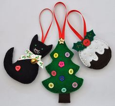 SHABBY CHIC HAND MADE FELT BLACK CAT - XMAS PUDDING - CHRISTMAS TREE DECORATIONS