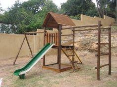 Jungle gym villa balcony module large wooden climbing for Wooden jungle gym plans