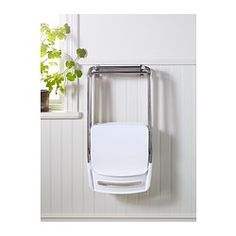 NISSE Folding chair, high gloss white, chrome plated - high gloss white/chrome plated - IKEA