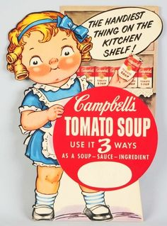 349: Cardboard Campbell's Soup Cutout Sign. : Lot 349- Grace Gebbie's (Wiederseim) Drayton -first works were published in 1895.The Joseph Campbell Company adopted the pink-cheeked children as the charming mascots for Campbell's Soup.