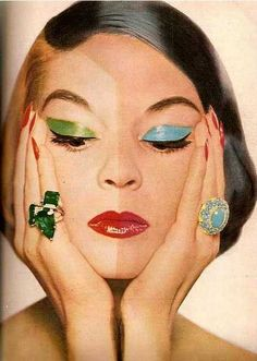 (via theniftyfifties.) Jean Patchett wearing an emerald ring from Harry Winston and turquoise ring from Van Cleef Arpels for Harpers Bazaar, October, Photo by Frances Pellegrini. Sapphire Band, Pink Sapphire, Diamond Bands, Patti Hansen, Lauren Hutton, Vintage Makeup, Vintage Beauty, Vintage Hair, Jewelry Ads