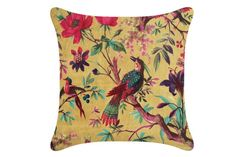 Paradise Bird Cushion Cover (sauterne yellow) -A Beautiful design printed onto soft velvet. The stunning colours almost help to bring this cushion to life. Furniture For Small Spaces, Sofa Bed, Home Accessories, Cushions, Colours, Bird, Living Room, Yellow, Prints