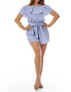 28a291d8f7 Hipster Ruffle Blue Pinstripes Off The Shoulder Short Jumpsuit