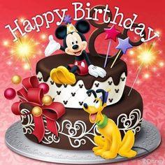 Disney Happy Birthday Images, Disney Birthday Wishes, Happy Birthday Disney, Happy Birthday Greetings Friends, Birthday Wishes Flowers, Birthday Cartoon, Cute Happy Birthday, Happy Birthday Pictures, Mickey Birthday