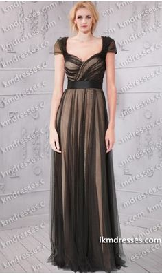 http://www.ikmdresses.com/fabulous-sheer-cap-sleeves-ruched-black-tulle-overlay-floor-sweeping-gown-p60944