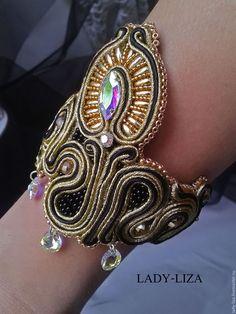 Купить Сутажный браслет Модерн и Ар деко Черный Золотой - золотой, черный, черный браслет
