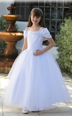 4f4d07eda2d1 White Little Princess Floral Tulle Girl Dress (Size  7-18) Baptism Gown