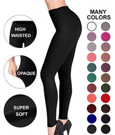 Sejora Satina High Waisted Leggings - 25 Colors - Super Soft Full Length Opaque Slim >>> You can find out more details at the link of the image. (This is an affiliate link) Warm Leggings, Colorful Leggings, Leggings Store, Dress To Hide Belly, Apple Shape Outfits, Apple Body Shapes, Latest Fashion For Women, 60 Fashion, Amazing Women