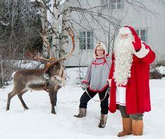 Rentierrennen des Weihnachtsmann in Pello in Lappland