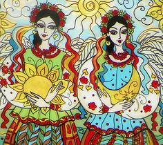 Glass Painting, Sisters, Two Angels, Day and Night, Ukrainian Folk Art