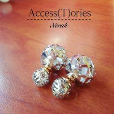 Double sided earrings Stencil Lace Diamond by AccessToriesStore