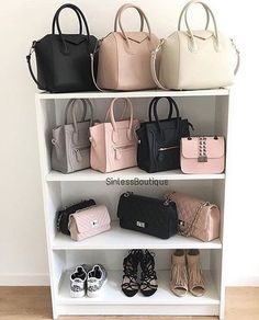 33 Ideas For Clothes Closet Organization Shoes Organizer Storage Ideas Luxury Bags, Luxury Handbags, Purses And Handbags, Sac Michael Kors, Bag Closet, Handbag Storage, Handbag Display, Shoe Display, Walking Closet