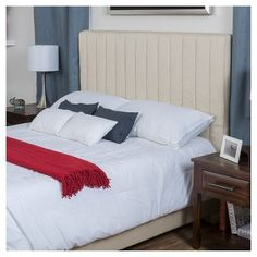 Leon Queen Upholstered Channel Bed - Bone (Ivory) - Christopher Knight Home