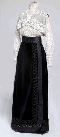 Blouse & skirt, Croatia, ca. 1908–09. Blouse is 2 types of lace on tulle; skirt is black velvet. Museum of Arts & Crafts, Zagreb - pink blouses and tops, womens navy blue blouse, black blouse short sl (Vintage Top Women)