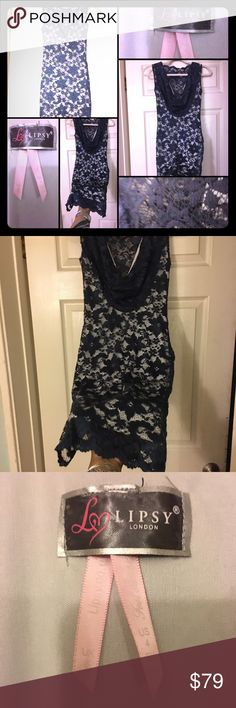 Women's LIPSY Short Dress Blue on white Lace Mini Very sexy chic dress plunges V shape on back.. stunning blue over white zips on side! Perfect dress! Love the lace! Looks stunning! Worn once!!‼️ ZERO TOLERANCE FOR LOW BALLING! Please have respect for us all here. You will be blocked if you low ball me! Thanks! ‼️ lipsy Dresses Mini