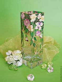 5 Simple and Modern Tips: Vases Crafts Holidays small vases centerpiece.Vases Fillers Living Room vases fillers ornaments.Vases Crafts Holidays.. Glass Painting Patterns, Glass Painting Designs, Stained Glass Patterns, Stained Glass Paint, Stained Glass Projects, Glass Bottle Crafts, Bottle Art, Sea Glass Art, Mosaic Glass