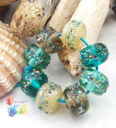 Lampwork Beads Marine Life by GlitteringprizeGlass on Etsy for jewellery making.   #lampwork #beads #handmade #etsyhunter #glitteringprizeglass #etsy #rustic #marine  #ocean  #green