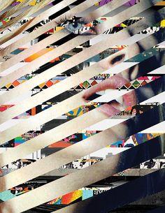 This piece by Madame Gilles is a pattern using portrait and collage. The collage breaks apart the face Collages, Art Du Collage, Webdesign Inspiration, Tableau Design, Fashion Collage, Foto Art, Gcse Art, Web Design, Grafik Design