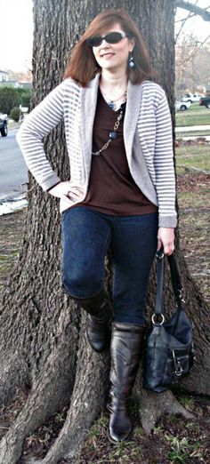 navy and brown/  Over 40 Fashion Blogger