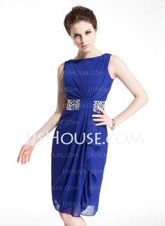 Sheath Scoop Neck Knee-Length Chiffon Cocktail Dress With Ruffle Beading (016021214) http://jjshouse.com