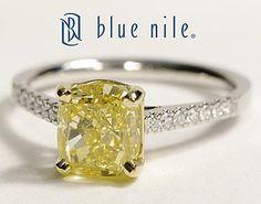Petite Cathedral Pavé Yellow Cushion Cut Diamond Ring in Platinum #BlueNile