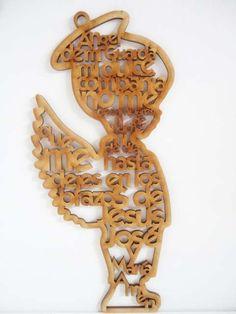 niño angel 15 cm con oracion angel de la guarda mdf cruz
