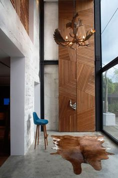 wall cladding - Ant Farm House by Xrange Architects Door Design, Wall Design, House Design, Chalet Design, Interior Architecture, Interior And Exterior, Interior Design, Interior Styling, Modern Wood Doors