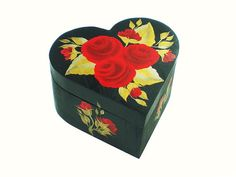 Valentine's Day Heart Box  Hand Painted Red by HandPaintedPetals, $29.00