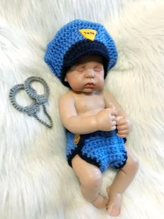 ca3d351788c Newborn Photo Prop - POLICEMAN or FIREMAN or Sheriff - Baby Boy Girl Hat  and Cape Or Diaper Cover - Doll Clothes - Made to Order