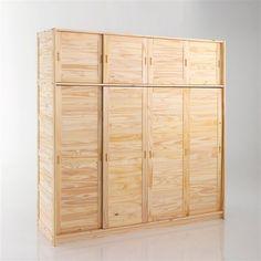 Armoire 4 portes, lingère penderie, H207 cm, pin massif, Soninke La Redoute Interieurs