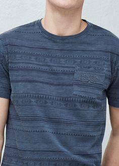 Chest-pocket printed t-shirt | MANGO MAN
