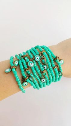 turquoise jewelry  Protection  stretch bracelet  by TresJoliePT
