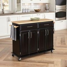 Home Styles Dolly Madison Black Kitchen Cart With Storage 4528-95 at The Home Depot - Mobile