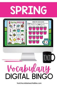 This vocabulary building activity is great for introducing spring vocabulary. English Vocabulary Games, Vocabulary Building, Grammar And Vocabulary, English Resources, Classroom Language, Bingo Games, Spring Activities, Educational Games, Classroom Themes