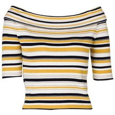 Contrast Color Stripe Boat Neck Off the Shoulder Mid Sleeve Knit Top ($60) ❤ liked on Polyvore featuring tops