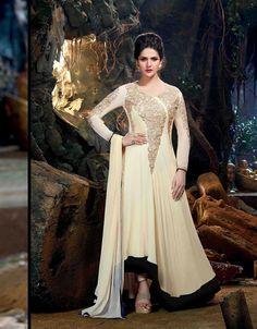 Zarine Khan Cream Georgette Designer Anarkali Suit 70200