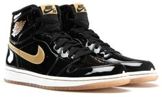 229fd328e06 Black patent leather and metallic gold hit our Air Jordan 1 Retro High OG  this Saturday