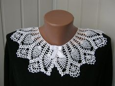 Lace collar knitted collar collar collar white by NataliaHandmede