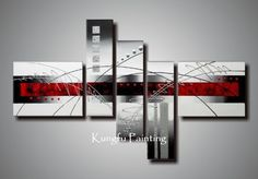 Black And White Modern Art | modern red black and white abstract art group oil painting wall art ...
