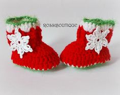 Stivali bambino Natale Natale Baby Booties rosso di DolcelinaShop