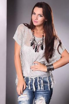 Grey Scoop Neck Short Sleeves Fringe Tassel Detailing