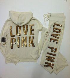 M Victoria Secret Pink Fur Hoodie sweat Pants Set Bling 202 Fashion Show