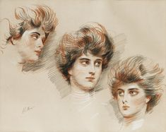 Paul-César Helleu VANNES 1859 - 1927 PARIS; STUDY OF THREE FACES OF ELLEN ; SIGNED LOWER LEFT; RED AND WHITE CHALK, AND PENCIL ON BEIGE PAPER