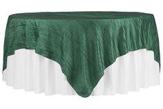 "Accordion+Crinkle+Taffeta+Table+Overlay+Topper+85""x85""+Square++-+Emerald+Green"