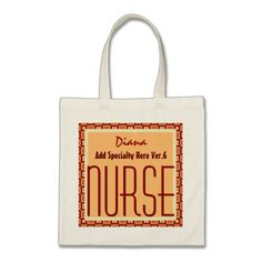 Mod Square NURSE Add Specialty and Custom Name V7 Tote Bags To see customizable totes visit http://www.zazzle.com/jaclinart/gifts?cg=196427799858145824  #monogram #tote #wedding #jaclinart #bridesmaid