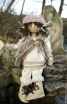 Купить Ангел Тая. Бохо. - бежевый, серо-молочный, бледно-розовый, кукла ручной…