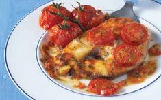 "Fish slices ""a la spetsiota"" (Psari ""a la spetsiota"") - iCookGreek Greek Cooking, Greek Recipes, Yummy Recipes, Mediterranean Recipes, Fish And Seafood, Tandoori Chicken, Shrimp, Main Dishes, Food And Drink"